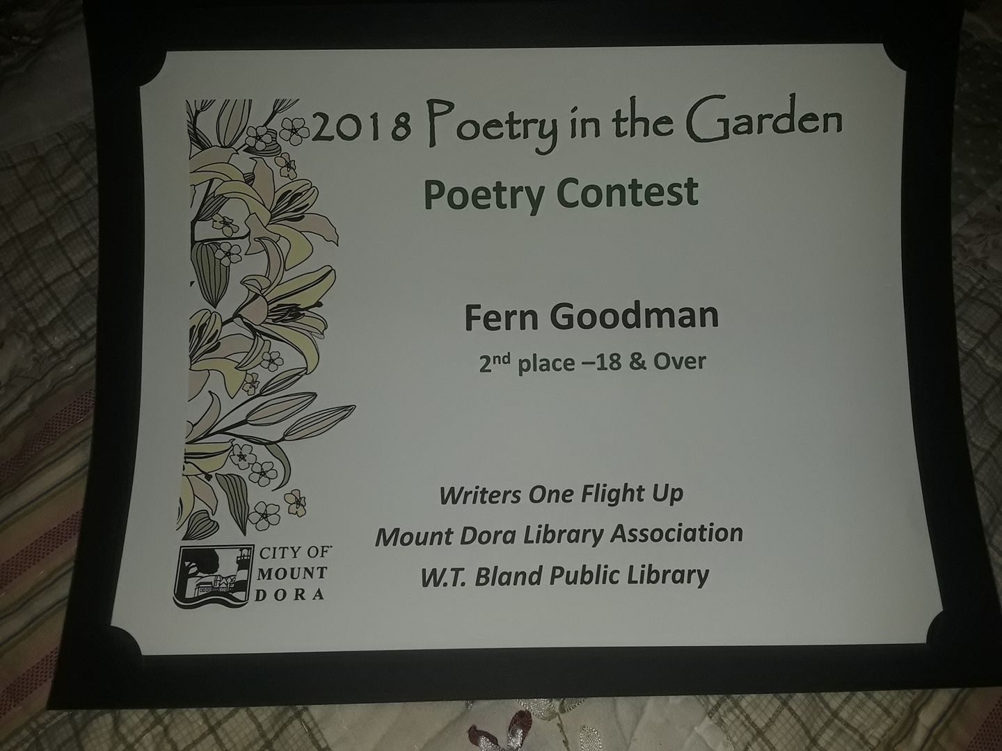 poem award mt dora 4 18